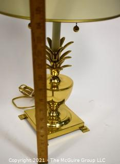 """Pineapple form Brass Table Lamp with Metal Shade; 19""""T"""
