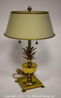 "Pineapple form Brass Table Lamp with Metal Shade; 19""T"