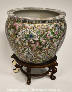 "Large Asian Hand Painted Porcelain Garden Planter, Flower Pot or Fish Bowl; 13""T x 15""  Diameter."