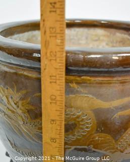 "Large Asian Martaban Earthen Ware Dragon Planter Jardinière or Fish Bowl; 12""T x 14"" diameter."
