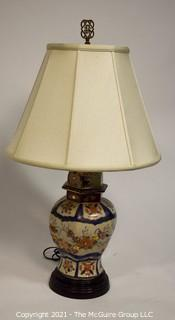 Vintage Porcelain Hand Painted Asian Ginger Jar Lamp With Shade