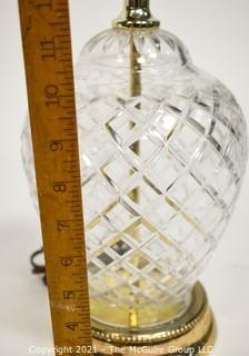 """Waterford Style Crystal Table Lamp; 24 1/2"""" tall"""