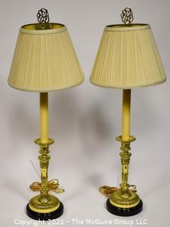 "Pair of brass Table Lamps; 30"" tall"