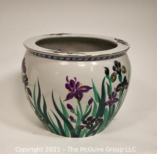 "Large Asian Hand Painted with Irises Porcelain Garden Planter, Flower Pot or Fish Bowl; 12""T x 14"" Diameter."