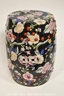 "Hand Painted Asian Ceramic Garden Stool; 11W x 19""T"