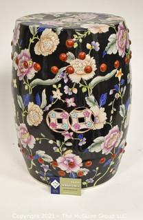 "Hand Painted Asian Ceramic Garden Stool; 11W x 19""T"