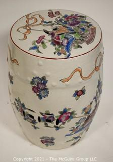"""Hand Painted Asian Ceramic Garden Stool.  Measures approximately  11"""" x 18""""T"""