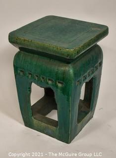 "Heavy Stoneware Open Green Ceramic Clay Garden Stool or Table.  It measures approximately 12 x 12"" top x 18""T"