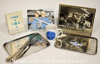Pan Am Airlines Memorabilia including First Class Silver Beverage Serving Trays marked PAA