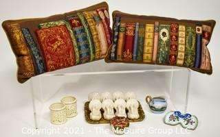 Collection of Decorative Items: Includes Two Needlepoint Pillows, Crate and Barrel Turkey Form Napkin Rings, Pierced Porcelain Votives and Florentine Tray.