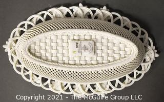 """Belleek Lily Blossoms Basket, Annual Basket 2007, Numbered. Measures approximately 10"""" long."""