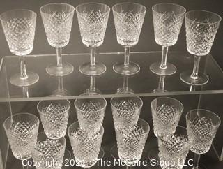 "Waterford Crystal - Alana Pattern: <br> <br>    (16) 7"" tall Water Goblets"