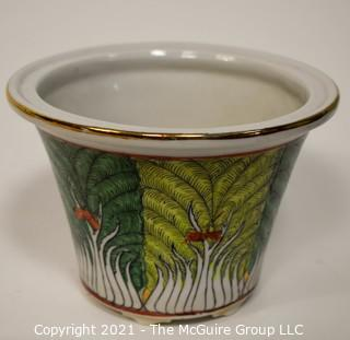 Eclectic collection including scallop shells, Estee Lauder covered bowl, 1979 Delbart Duchein print of NYC Skyline, planter and paperweight