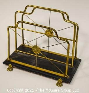 Vintage Brass Claw Foot Magazine Rack With Black Base by Glo-Mar Artworks, NY