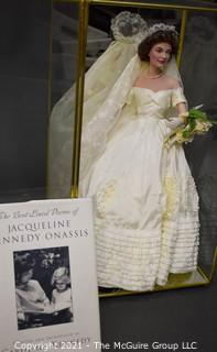 Franklin Mint Jacqueline Kennedy Heirloom Bride Doll in Hinged Glass Case.