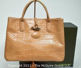 Pink Longchamp Faux Alligator Top Handle Handbag or Tote with Butterfly Interior.  Includes Box.