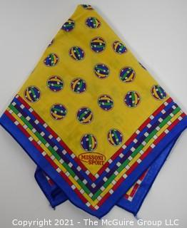 "Small Yellow Cotton Bandana or Scarf by Missoni Sport. Measures approximately 19"" square."