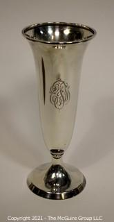 """Vintage R Wallace & Sons Mfg Co Sterling Silver Vase with Monogram.  Measures approximately 10.5"""" tall and 301g in weight. (Note: Description altered 4/7 at 1:52PM)"""