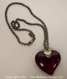 Vintage Yves Saint Laurent YSL Red Crystal Glass Heart Pendant on Chain Necklace