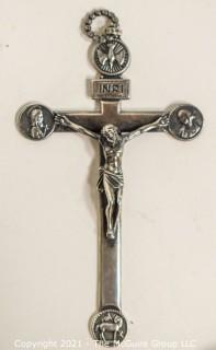 "Vintage Sterling Silver Pectoral Cross or Crucifix.   Measures approximately 5"" long and 299g in weight."