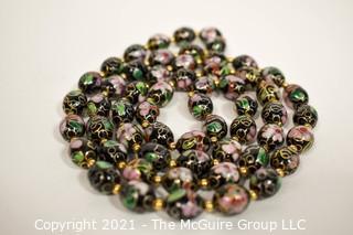 Black & Gold Cloisonné Bead Necklace.