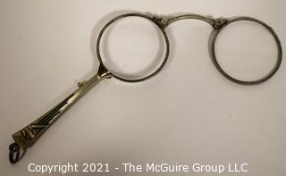 Antique Art Deco Style Lorgnette Folding Opera Handheld Glasses