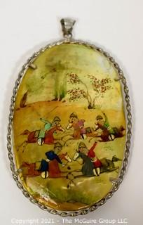 """Vintage Asian Mother of Pearl Hand Painted  Double Sided Hunting Story Pendant with Silver Mounting.   Measures approximately 3"""" long."""