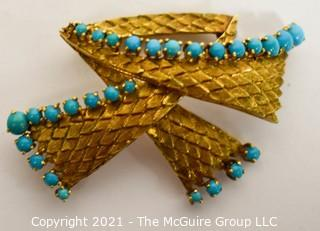 "Vintage 18kt Gold Textured Brooch or Pin with Blue Gemstones.   Measures approximately 2"" long and 17.6g in weight."