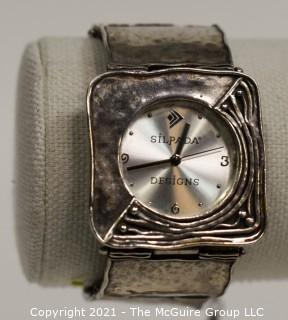 Silpada Women's Sterling Silver Hammered Square Link Wrist Watch