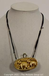 Asian Carved Bone Box Pendant or Necklace on Cord.