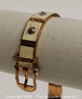 Henri Bendel Rose Gold Toned and White Enamel Belt Bracelet  47g Weight {Note: Description was changed on 4.5.21 @ 12:49pm ET}