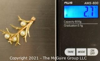 "14kt Gold with Pearls Tree Pendant.  Measures approximately 1 1/2"" tall and missing one pearl; total weight 2.7g"