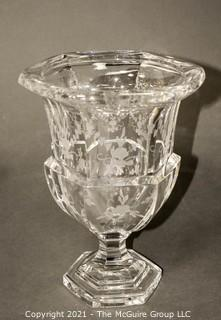 "Tiffany & Co. Tall Clear Crystal Etched Glass Urn Style Vase with Pedestal Base.   Measures approximately 10"" tall."