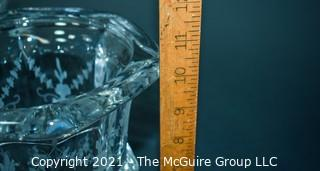 """Tiffany & Co. Tall Clear Crystal Etched Glass Urn Style Vase with Pedestal Base.   Measures approximately 10"""" tall."""