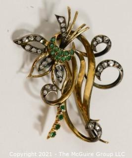 Antique 14kt Gold with Diamonds and Emeralds Flower Flourish Brooch or Pin; 12g