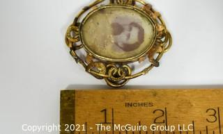 """Victorian 14kt Gold Mourning Brooch Monogramed AES Close.  Brooch Pin has been removed.  Unmarked but tested 14kt.  Measures approximately 2"""" long, total weight 19.3g"""