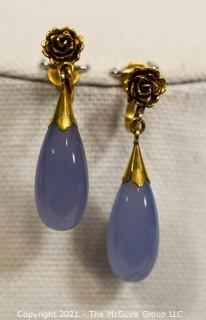 "Dangle Teardrop Blue Lace Agate with 18kt Gold Flower Setting Screw Back Earrings.  Measures approximately 1 1/2"" long; total weight 9.3g"