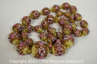 "Hand Blown Murano Pink & Gold Lamp Work Glass Bead Necklace.  Clasp Broken.  Measures approximately 21"" long"
