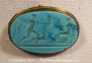 "Carved Blue Agate Stone Brooch with Silver Mounting of Greek Scene  Measures approximately 2"" long."