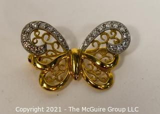 """18kt Gold with Diamonds Butterfly Brooch or Pin; 1"""" wide; total weight 3.2g"""