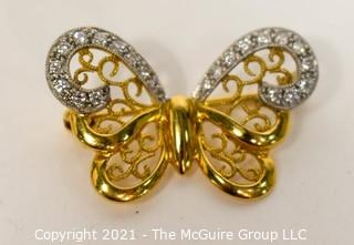 "18kt Gold with Diamonds Butterfly Brooch or Pin; 1"" wide; total weight 3.2g"