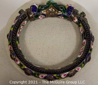 Antique Asian Export Cloisonné Double Headed Dragon Bangle Bracelet with Gemstones. Unmarked.