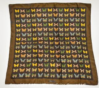 "Vintage Gucci Silk Butterfly Scarf with Labels & Gold Stripe Border.  Measures approximately 26"" Square."