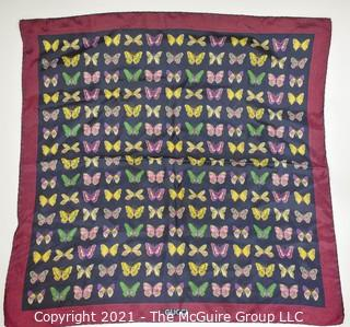 "Vintage Gucci Silk Butterfly Scarf with Labels & Red Stripe Border.  Measures approximately 26"" Square."