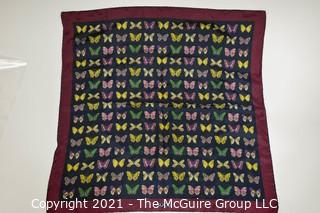 """Vintage Gucci Silk Butterfly Scarf with Labels & Red Stripe Border.  Measures approximately 26"""" Square."""