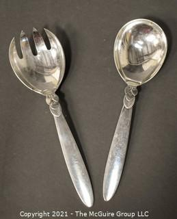 """Georg Jensen Denmark Sterling Silver Salad Serving Set with Spoon and Fork the Cactus Pattern.  Each measures approximately 8"""" in lenth."""