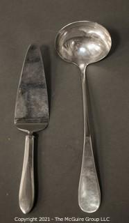 Vintage Pan Am Silver Plate Serving Pieces Including Punch Bowl Ladle and Pie Server.  Made for Pan American Airlines by Victors Co.