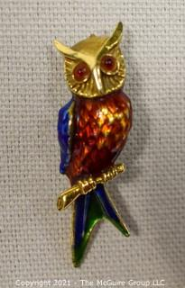 "14 kt Gold and Enamel Paint Owl Brooch or Pin.   Measures approximately 2"" long and 8.7 g.  Unmarked, Tested as 14 kt."