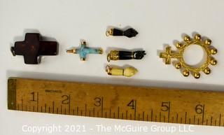 Group of Pendants Including Three (3) Figa Charms, Two (2) Crosses & a Pocket Rosary.