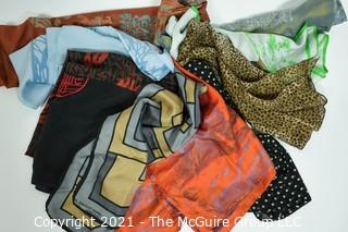Group of Ladies Silk Scarves and Shawls.